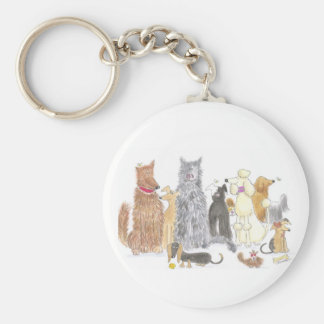 delightful dogs key fob basic round button key ring