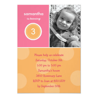 Delightful Dots Photo Birthday Invitation (Pink)