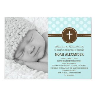 Delightful Dots Photo Christening Invitation Blue