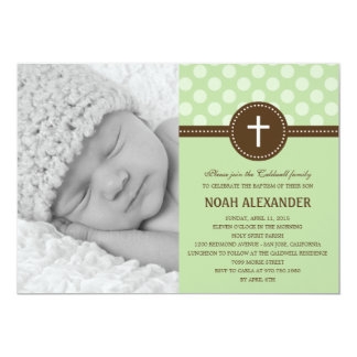 Delightful Dots Photo Christening Invitation Green
