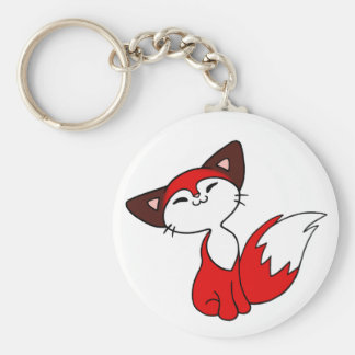 Delightful Fox Basic Round Button Key Ring