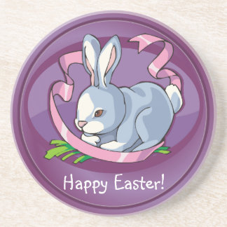 Delightful Happy Easter Bunny with Ribbon Coaster