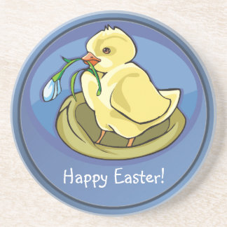 Delightful Happy Easter Chick with Flower Coaster