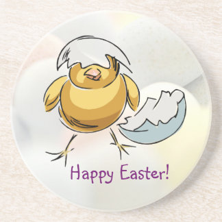 Delightful Happy Easter Newly Hatched Chicken Coaster