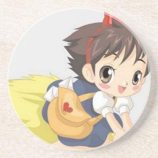 Delightful little girl drink coaster