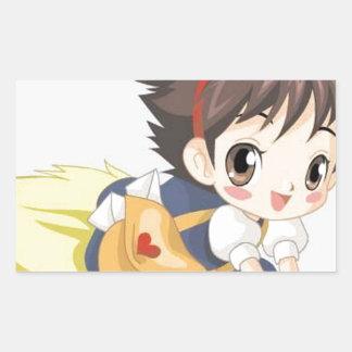 Delightful little girl rectangular sticker