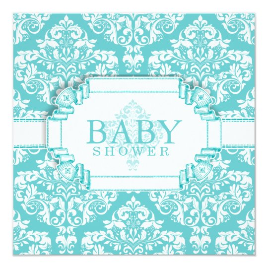 Delightful Robins Egg Blue Damask Card