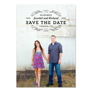 Delightful Seal Save The Date - Wood - 13 Cm X 18 Cm Invitation Card