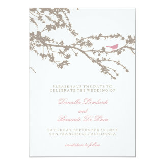 Delightful Tree Top Bird Save The Date Card