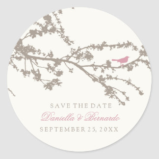 Delightful Tree Top Bird-Save The Date Sticker