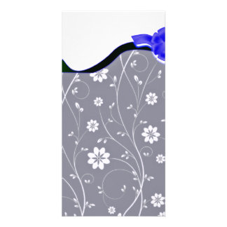 Delightful White floral and Bluish Ribbon Photo Greeting Card