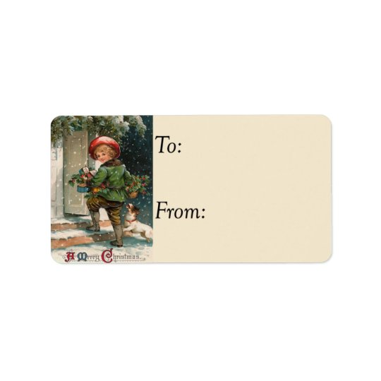 Delivering Christmas Gifts Vintage Gift Tag Address Label