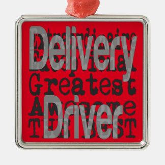 Delivery Driver Extraordinaire Silver-Colored Square Decoration