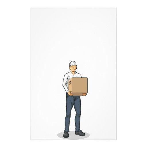 Delivery Man Bringing Carton Box Flyer
