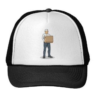 Delivery Man Bringing Carton Box Trucker Hats