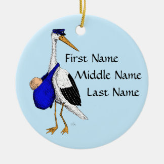 Delivery Stork Baby Boy Ornament
