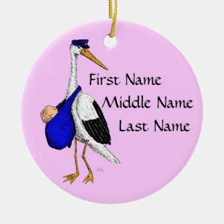 Delivery Stork Baby Girl Ornament