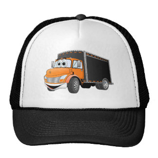 Delivery Truck Orange Black Box Cartoon Trucker Hats