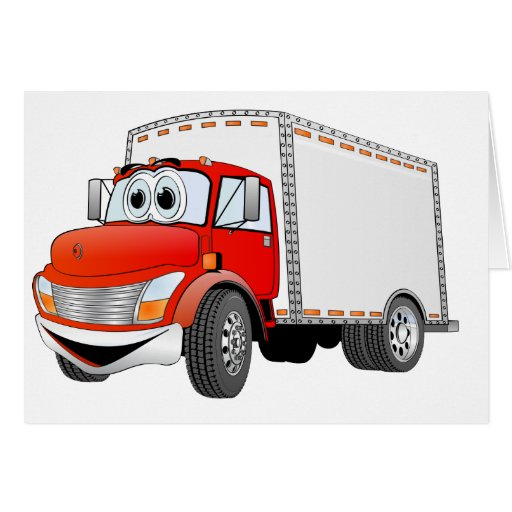 Delivery Truck Red White Box Cartoon Greeting Cards   Zazzle