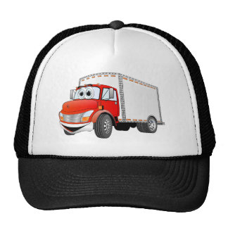 Delivery Truck Red White Box Cartoon Trucker Hats