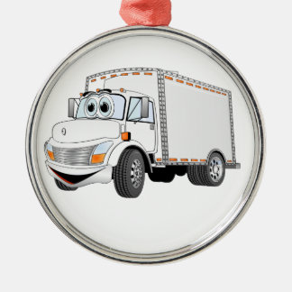 Delivery Truck White Cartoon Christmas Ornament