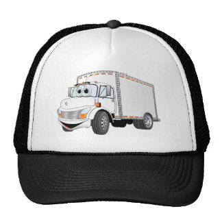 Delivery Truck White Cartoon Mesh Hats