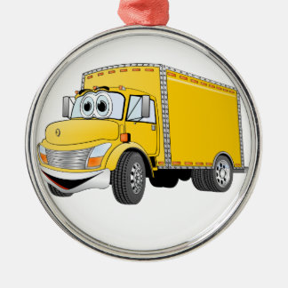 Delivery Truck Yellow Cartoon Christmas Ornament