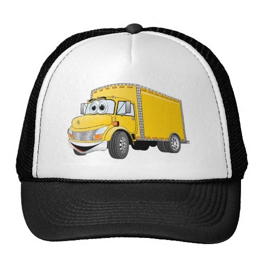 Delivery Truck Yellow Cartoon Mesh Hats