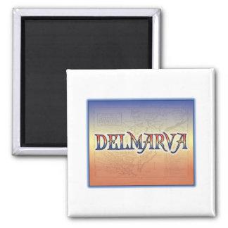 DelMarVa Antique Map Square Magnet