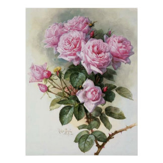 DeLongpre-Roses and Bumblebees-1899 Poster