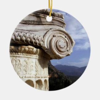 Delphi Temple Round Ceramic Decoration