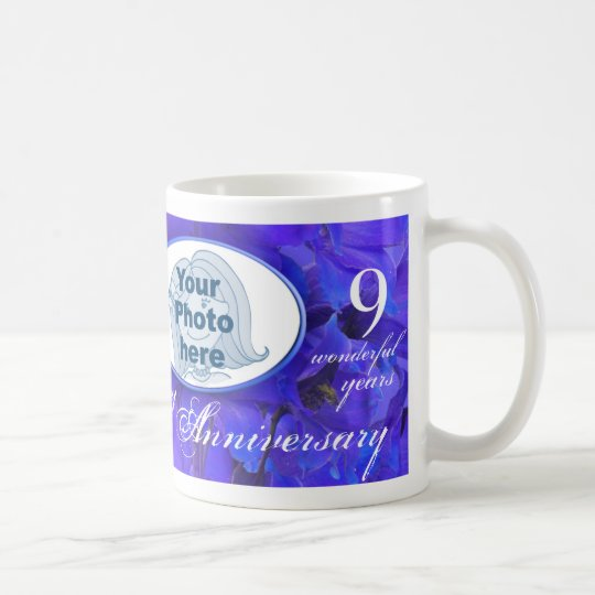 "Delphinium Anniversary ""own special photo"" mug"