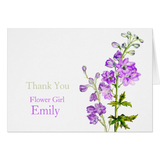 Delphinium art wedding flower girl thank you card