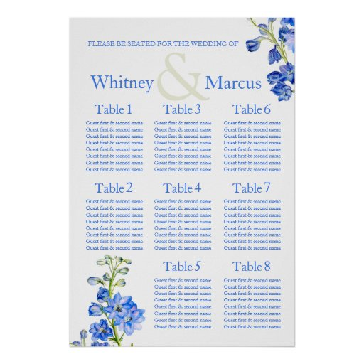 Delphinium blue Wedding Seating Table Planner Poster
