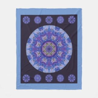 Delphinium mandala fleece blanket