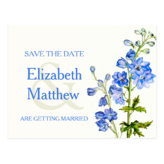 Delphinium painted blue flower save the date card postcard