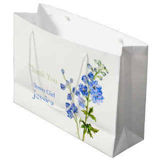 Delphinium wedding blue flower girl favor gift bag