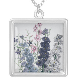 Delphiniums, from 'The Ladies' Flower Garden' Silver Plated Necklace