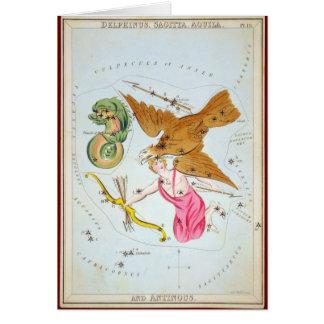 Delphinus, Sagitta, Aquila, and Antinous Greeting Card