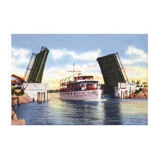 Delray Beach Florida Draw Bridge over Canal Stretched Canvas Prints