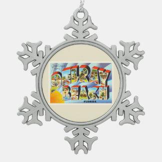 Delray Beach Florida FL Vintage Travel Souvenir Pewter Snowflake Decoration
