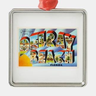 Delray Beach Florida FL Vintage Travel Souvenir Silver-Colored Square Decoration