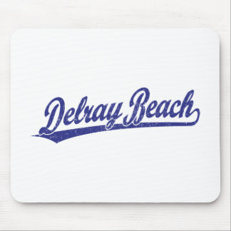 Delray Beach script logo in blue Mouse Pads