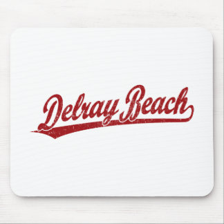 Delray Beach script logo in red Mouse Pad