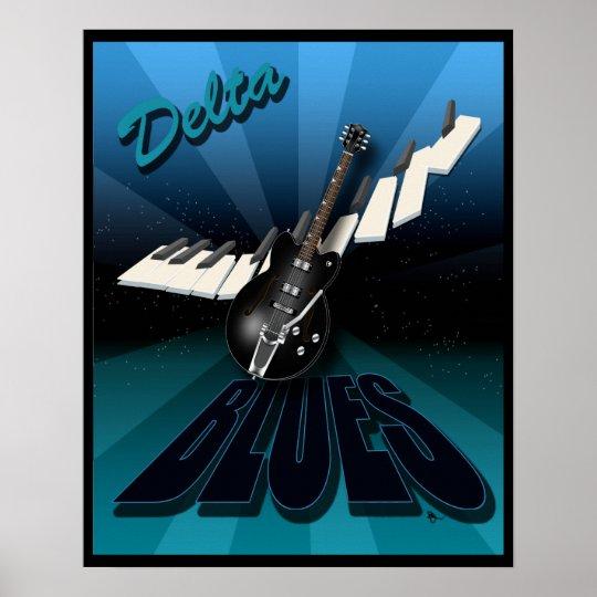 Delta Blues Guitar and Keyboard Starburst Poster