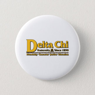 Delta Chi Name and Logo Gold 6 Cm Round Badge