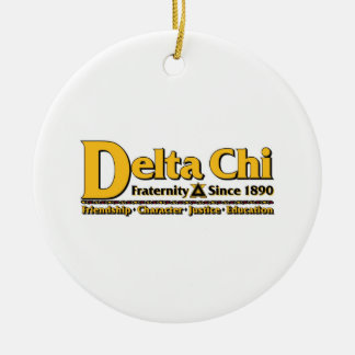 Delta Chi Name and Logo Gold Christmas Ornament