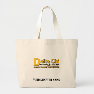 Delta Chi Name and Logo Gold Large Tote Bag