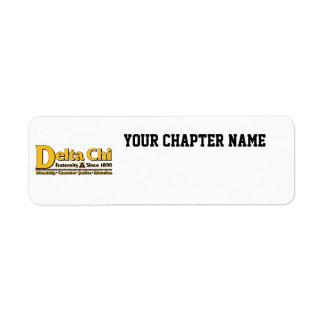 Delta Chi Name and Logo Gold Return Address Label