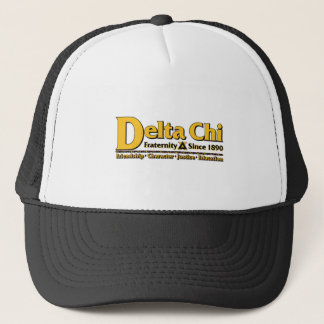 Delta Chi Name and Logo Gold Trucker Hat